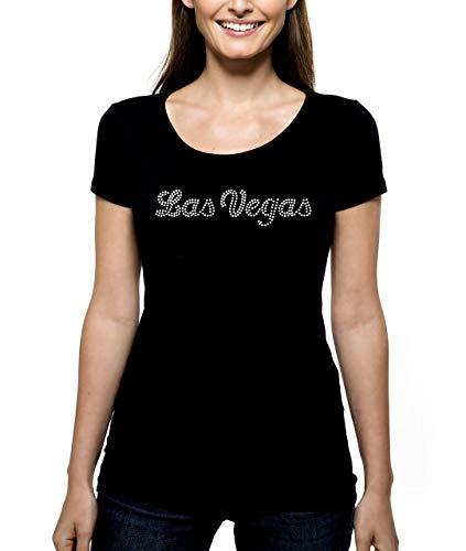 Las Vegas Script RHINESTONE T-Shirt Shirt Tee Bling - Pick Rhinestone Color - Gambling Casino Nevada Cards Slots Poker Craps Vacation Trip Gamble - Pick Shirt Style - Scoop Neck V-Neck Crew Neck