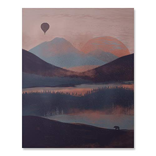 (Outdoor Inspiration Wilderness Sunrise Lover Art Print Beautiful Peaceful Serene Forest Trees Lake Reflection Balloon Ride Over Mountains Nature Bear Wall Art Pink Blue Sky Home Decor 8 x 10 Inches )