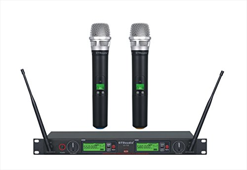 GTD Audio 2x800 Channel UHF Diversity Wireless Hand-held Microphone Karaoke Mic System 733 (2 Hand held -