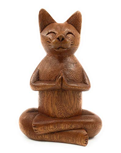 - Ruth + Wilde Namaste Cat - Hand Carved Wood from Bali - Yoga Buddha Zen Cat