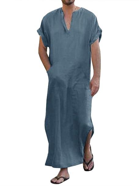 Amazon.com: Hombres Vintage Abaya Túnica V Cuello Musulmán ...