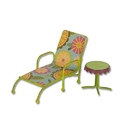 Studio M - Gypsy Fairy Garden -Mini Chaise Lounge w/ Table GG251,Green, Orange, Yellow, Blue, Purple