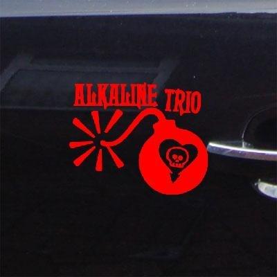 reprowiwi Decor Home Decor CAR RED Decal Sticker Adhesive Vinyl Alkaline Trio Wall Art Bike CAR Notebook Vinyl Art Window DIE Cut AUTO Laptop Decoration Punk Band Helmet MacBook