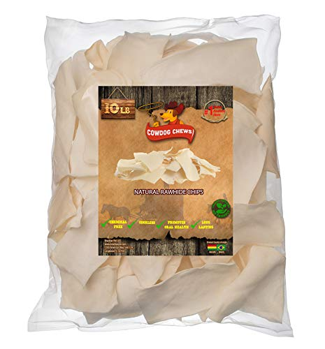 Cowdog Chews Natural Rawhide Chips - Premium Long-Lasting Dog Treats with Thick Cut Beef Hides, Processed Without Additives or Chemicals (10 Pounds)