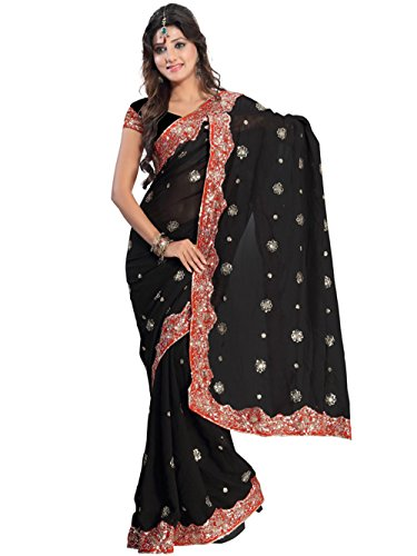 Indian Trendy Women's Bollywood Sequin Embroidered Sari Festival Saree Unstitched Blouse Piece Costume Boho Party Wear (Black)