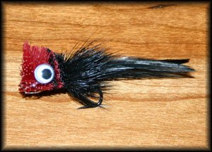 (Deer Hair Bass Bug - Black/Red Fly Fishing Fly - Size 4 - 12 Pack)
