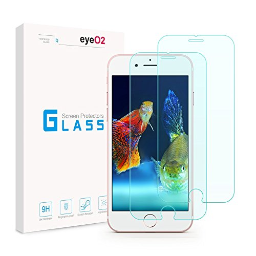 EyeO2 Screen Protector for iPhone 7, 8 Anti-Scratch & Anti-Fingerprint Tempered Glass Guard 9H Hardness Screen Film Protective Accessories Case Friendly Clear(2 Pack