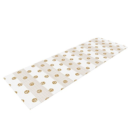 Kess InHouse Pellerina Design Linen Polka Stripes Exercise Yoga Mat, Gold Dots, 72″ by 24″
