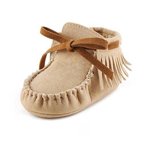Babyschuhe Longra Baby Kleinkind Säugling Neugeborenes Prewalker Stiefel Quaste Schuhe weiche Sohle lauflernschuhe(0~ 18 Monate) Khaki