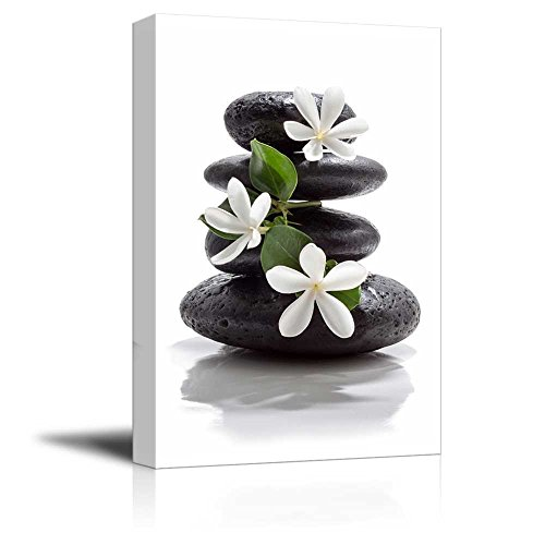 Zen Basalt Stones with Calming Magnolia Flowers Wall Decor