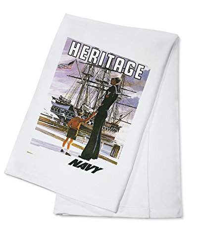 US Navy Vintage Poster - Heritage (100% Cotton Absorbent Kitchen Towel) - Heritage 18 Towel Bar