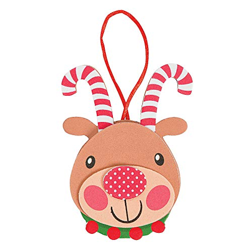 Fun Express Self-Adhesive Foam Candy Cane Antler Reindeer Ornament Craft Kit | 1-Pack, 12-Count | Great for Christmas Party and Holiday Celebrations Decoration -