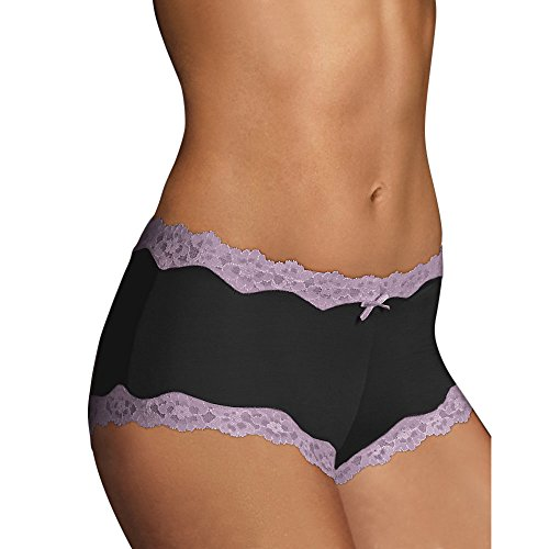 Maidenform Cheeky Scalloped Lace Hipster (40837) Black/Rum Raisin, 7