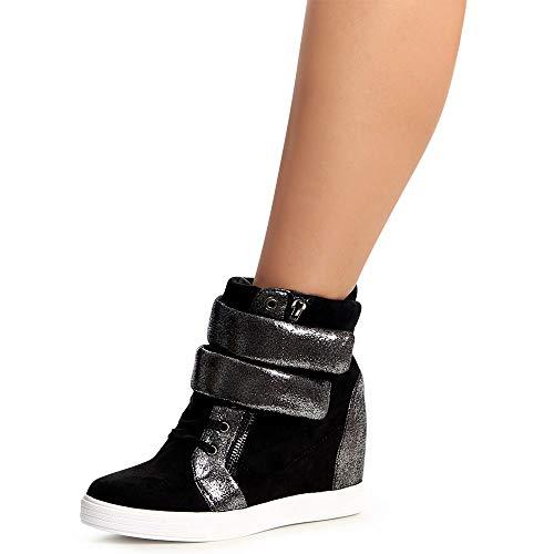 Coin Sport De Chaussures Argent Femmes Baskets Noir Topschuhe24 xUFXwn