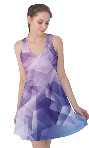 CowCow Womens Colorful Vector Abstract Geometrical Polygonal Iridescent Sleeveless Dress, XS-5XL