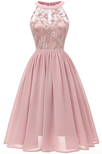 MILANO BRIDE Vintage Cocktail Party Halter Floral Lace Homecoming Prom Dress for Women