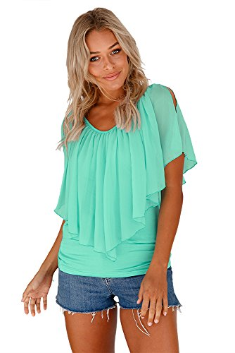 Nuovo verde menta Cold Shoulder Flutter camicetta estate camicia top casual Wear taglia UK 16 EU 44