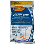 hoover vac y z - Hoover Power Drive & Caddy Vac Upright Type Z Filter Paper Bags 3 Pk Part # 857