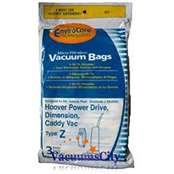 Hoover Power Drive & Caddy Vac Upright Type Z Filter Paper Bags 3 Pk Part #