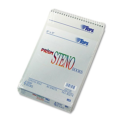 TOPS® - Spiral Steno Notebook, Gregg Rule, 6 x 9, Gray, 4 80-Sheet Pads/Pack - Sold As 1 Pack - Letr-Trim® perforations for a clean tear. by Tops