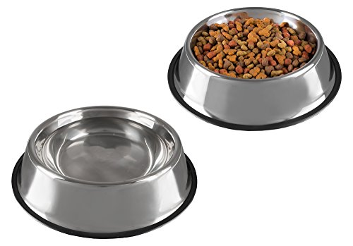 Stainless Steel Pet Bowls with Non Slip Rubber Bottom for Dogs and Cats-Feeder Dish for Food and Water- Set of 2, 32 oz Each By PETMAKER (Dog Stainless Steel Oz 32)