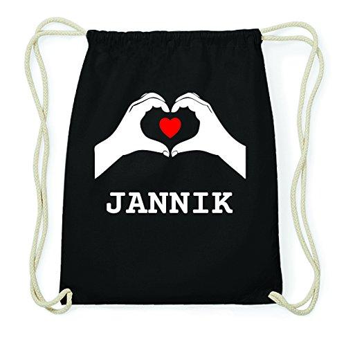 JOllify JANNIK Hipster Turnbeutel Tasche Rucksack aus Baumwolle - Farbe: schwarz Design: Hände Herz