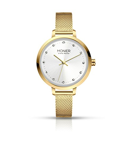 - Emelia Monier Crystal Icon Gold Tone Women's Watch with Gold Tone Mesh Bracelet EML004-02GL