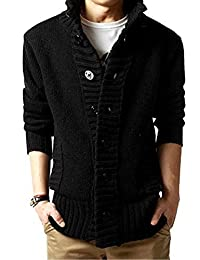 LANROON Men's Winter Warm Shawl Collar Knitted Cardigan Sweater