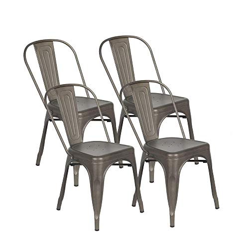 BONZY HOME Metal Dining Chairs, Stackable Side Chairs with Back, Indoor Outdoor Use Chair for Farmhouse, Patio, Restaurant, Kitchen, Set of 4(Gun) (Outdoor Restaurant Chairs)