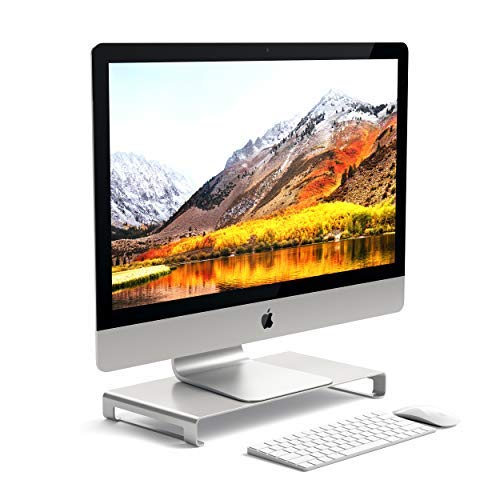 Satechi Aluminum Universal Unibody Monitor Stand – Compatible with 2017/2018 MacBook Pro, iMac Pro, Google Chromebook, Microsoft Surface Go, Dell, Asus and More (Silver)