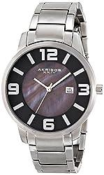 Akribos XXIV Men's AK566SSB Essential Analog Display Swiss Quartz Silver Watch