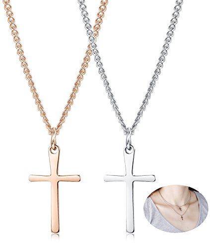 (Thunaraz 2pcs Stainless Steel Cross Necklace Set for Women Girls Pendent Necklace 16