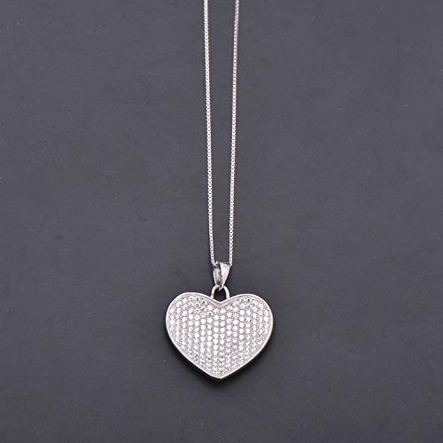 925 Sterling Silver Concave Heart Shaped Pendant Necklace Full Set Cubic Zirconia ()