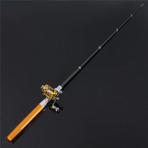 Krismile® 38inch Mini Portable Pocket Aluminum Alloy Fishing Rod Pen Great Gift (Golden)