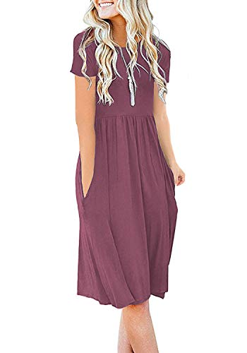 DB MOON Womens Summer Casual Empire Waist Dresses with Pockets (Mauve,XL)