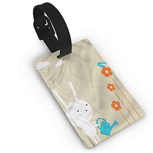 (Hot sale 1pc Animal,Cute Bunny with Flowers One Size Label Tag Address Holder)