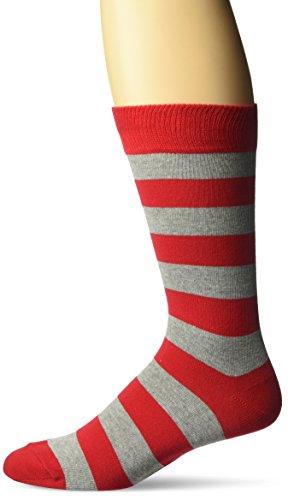 Hot Sox Men's Fashion Pattern Slack Crew Socks, College Rugby Stripe (Red/Grey), Shoe Size:6-12 / Sock Size: 10-13
