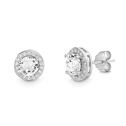 Devin Rose Round Halo Stud Gift Earrings for Women Made With Swarovski Crystals in 925 Sterling Silver (Crystal Various Imitation Birthstone)