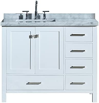 ARIEL A043S-L-CWR-VO-WHT Cambridge 43 Inch Bathroom Vanity in White with Carrara White Marble Countertop