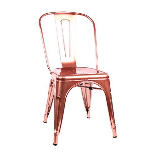 Design Lab MN Dreux Steel Side Chair, Set of 4, Chrome Rose Gold
