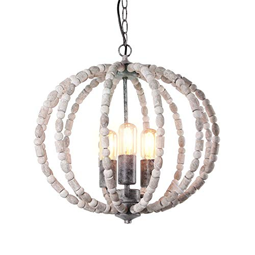 Eumyviv Wood Beads Chandelier Metal Frame Spherical Pendant Light, Industrial Edison Vintage Hanging Light Fixture Retro Rustic Ceiling Light Luminaire 3-Lights, Gray White (17101)