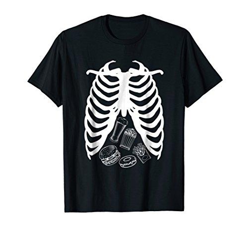 Skeleton Rib Cage Junk Food burger Junkie Halloween Tshirt -