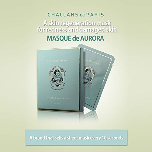 CHALLANS de PARIS MASQUE de AURORA Premium Skin Regenerating Sheet Masks for Acned, Irritated, and Damaged Skin Types box of 10