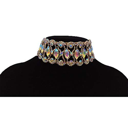 NABROJ Luxury Crystal Rhinestone Choker Necklace Collares Fashion Punk Wide Statement Necklace for Women Girls 1PC-HL21 Gold Crystal (Party Collar Rhinestone)