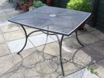 NEW GREY STEEL METAL MESH TOP SQUARE GARDEN PATIO BISTRO TABLE OUTDOOR  FURNITURE