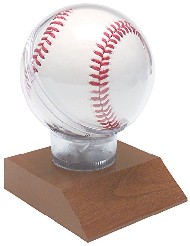 Decade Awards All Star Baseball Holder on Cherry Base Trophy | Game Ball Display Case Award | 4.5 Inch - Free Engraved Plate on ()