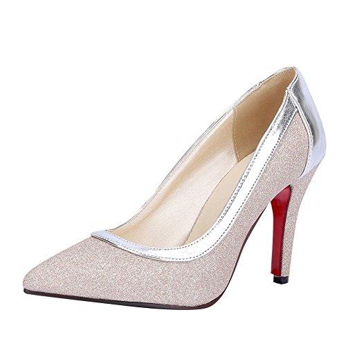 YE Damen Stiletto High Heels Spitze Pumps mit 9cm Absatz Elegant Glitzer Schuhe