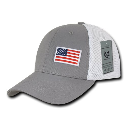 (Rapiddominance A08-USA-GRY Aero Foam Flex USA Cap, Grey)