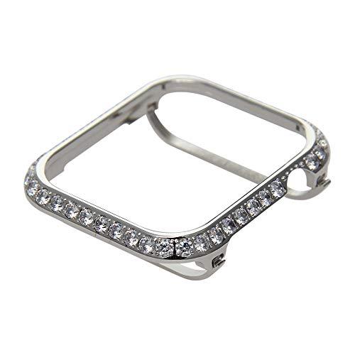 Callancity Metal Rhinestone Crystal 3.0 Big Diamond Jewelry Bezel case Cover Compatible Apple Watch Series 4 44mm for Men/Women (Platinum White Crystals)