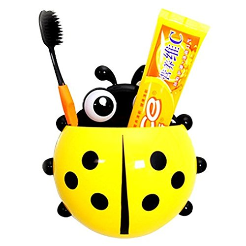 Windspeed Cute Ladybug Tooth Brush Toothpaste Holder Wall Hanger with Suction Cup (Yellow)